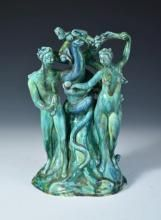 Dina Kuhn for Friedrich Goldscheider, a rare figure group of Adam & Eve, circa 1925, the pair stand either side of a tree with an entwined serpent, model number 5248