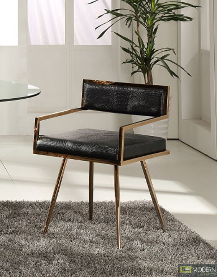 Dining Table With Gold Legs Part - 34: The Modrest Rosario Modern Black U0026 Rose Gold Dining Chair Is A Magnificent  Display Of Grace Featuring Black Crocodile Textured Leatherette Upholstery  With ...