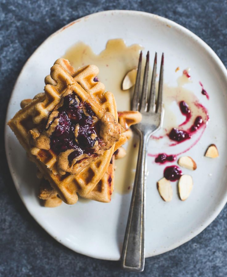 Brown Rice Flour Waffles with Almond Butter and Jam ...