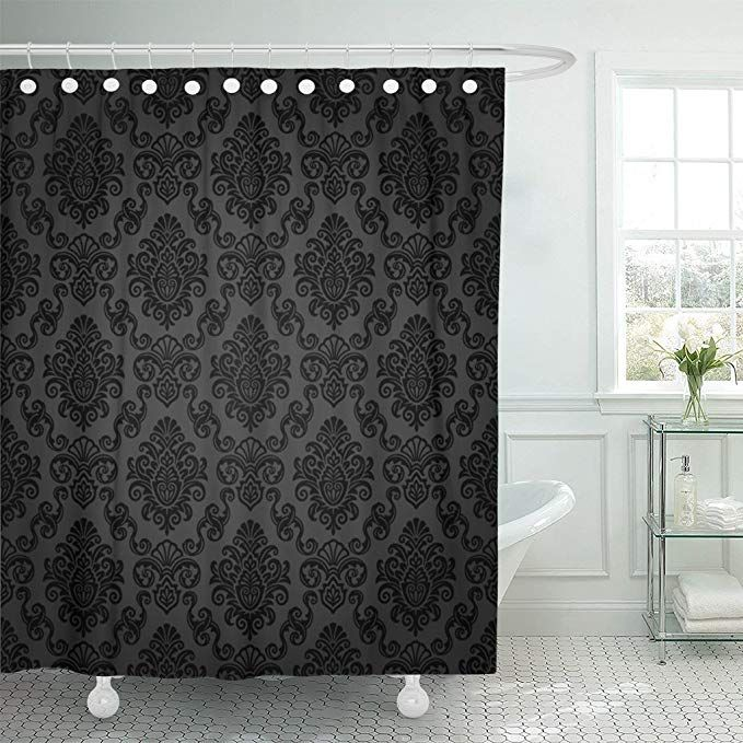 Breezat Shower Curtain Victorian Damask Pattern Royal Black Gothic