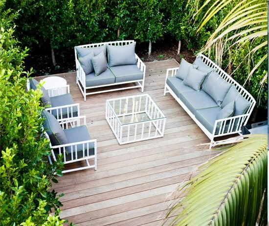 5 Tips for Designing Your Outdoor Area. Alboo Feux Bamboo White Patio Furniture from Robert Plumb.