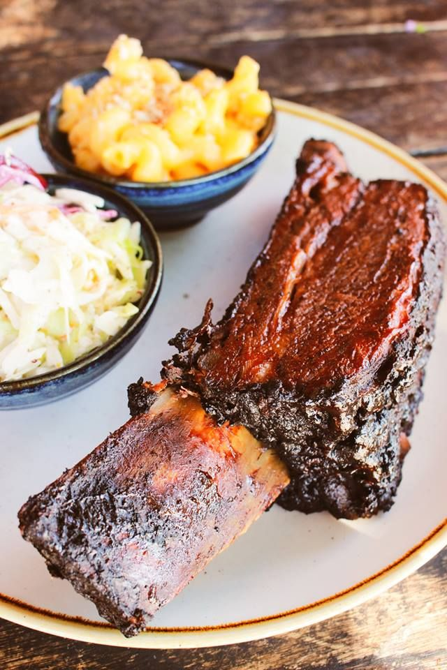 Reason To Visit Claremont During The Week Beef Rib Mondays At Gus S Bbq Flintstone Style Ribs 27 95 With 2 Sides Included Yum Beef Ribs Yum Food