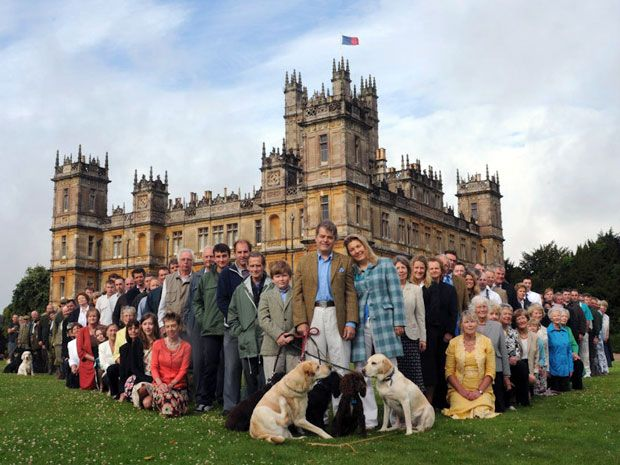 """The real owners of """"Downton Abbey""""   In reality, Highclere Castle.  The Carnarvon family and their staff."""