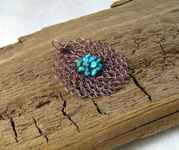 Copper pendant necklace wire crochet jewelry wire by styledonna