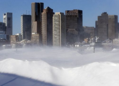 Blowing snow on waterfront, East Boston, Feb. 16, 2015