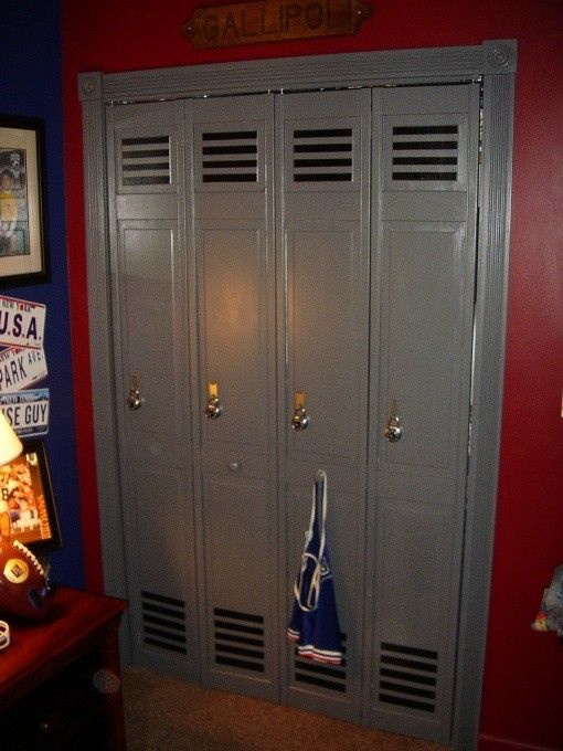 Bifold doors turned into lockers for sports room - Click image to find more Kids Pinterest pins