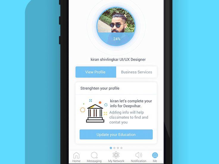Linkedin app interaction