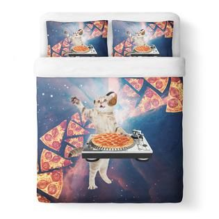 DJ Pizza Cat Duvet Cover Set