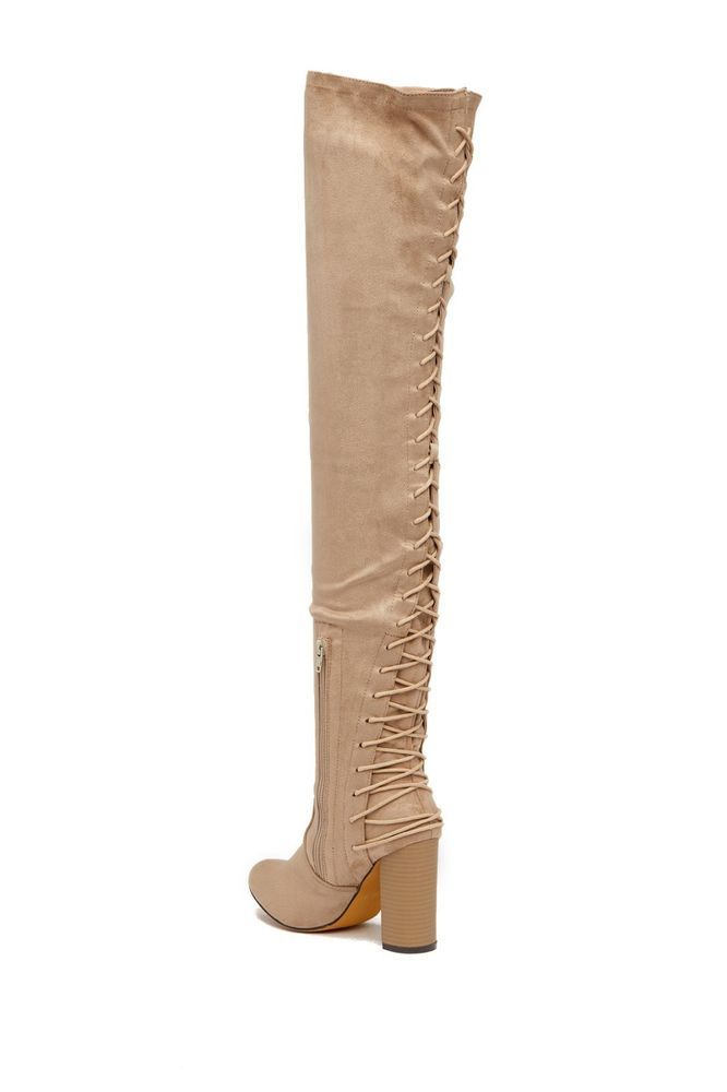35bced136de2 chase and chloe womens boots size 6 corset lace up thigh high adjustable  taupe  fashion  clothing  shoes  accessories  womensshoes  boots (ebay link)