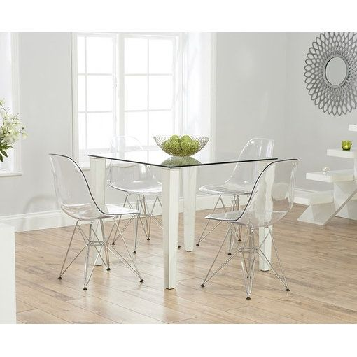 2xhome Modern Eames Side Dining Chair Clear With Wire Chrome Leg Base Home Goods Storememorial