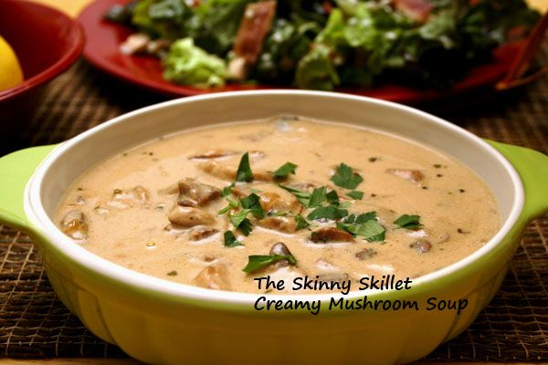 """Winner! The guys and I loved this.  Not very filling but perfect for a first course or a light lunch. Use cream for a thicker soup. September 2012"" creamy mushroom soup"