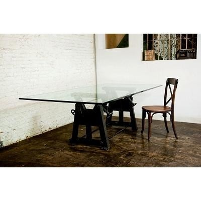 1000 images about industrial simplicity on pinterest for Cast iron and glass dining table