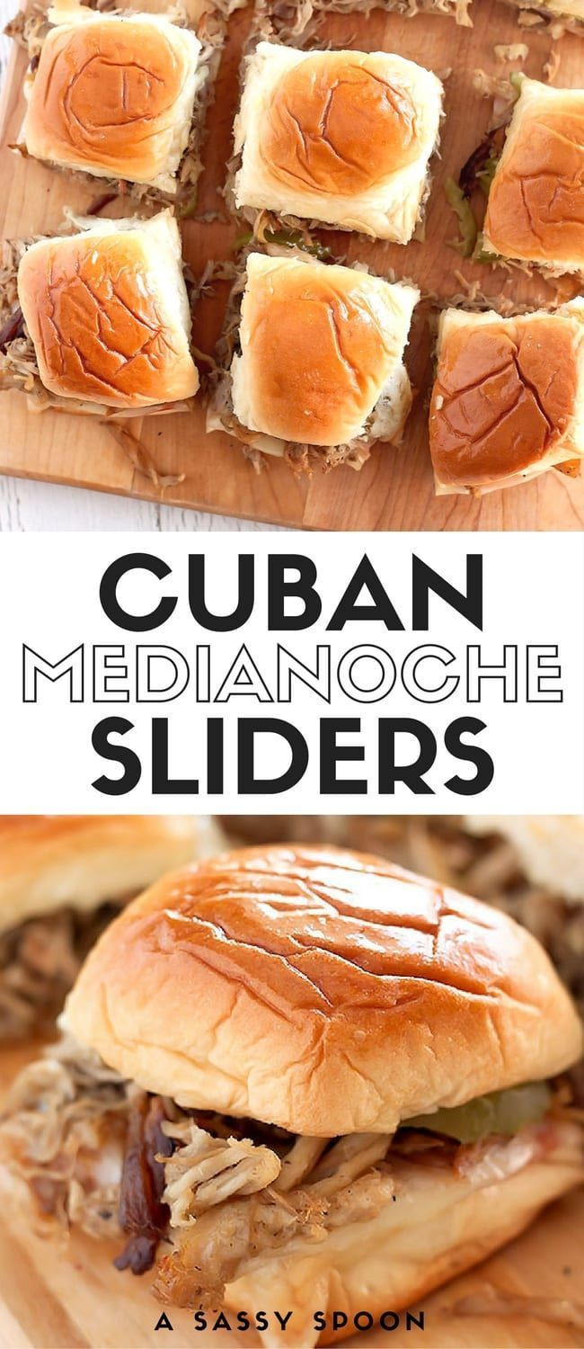Cuban medianoche sandwiches turned Cuban sliders! Ham, swiss cheese, Cuban-style pulled pork, pickles & mustard on toasted, buttered Hawaiian dinner rolls. Perfect for game day or entertaining at home! via /asassyspoon/