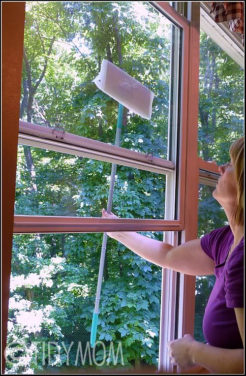 Easy Window Cleaning Tip at TidyMom.net. I would use the swiffer from the outside because of the screens. This will keep me from having to haul out the ladder.