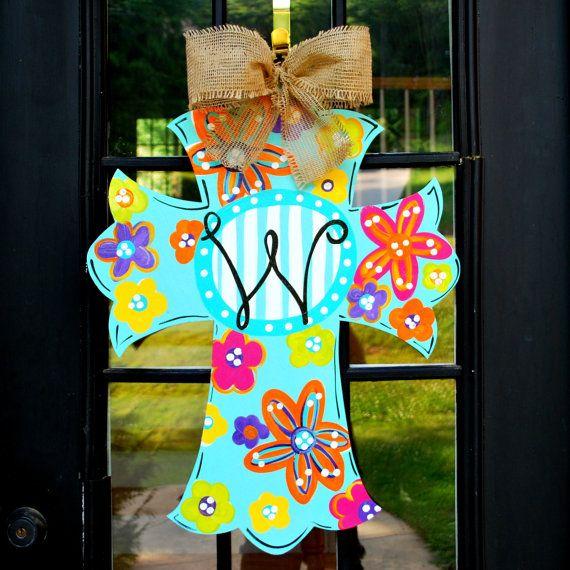 Door Hanger: Cross, Summer Wreath, Wall Cross, Hand painted wooden cross, Summer Door Hanger