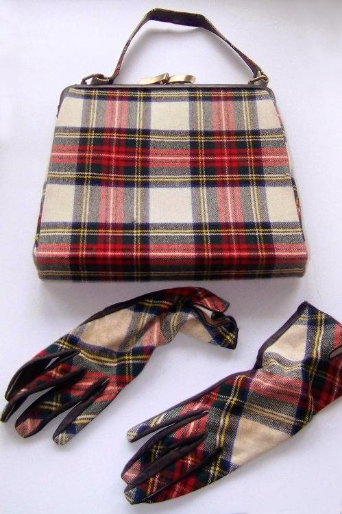 Vintage Tartan purse and gloves