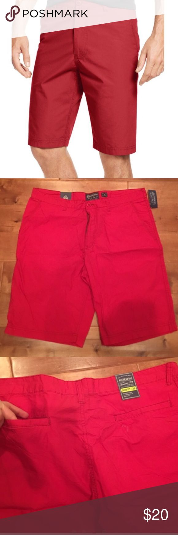 Mens slim fit red shorts New with tags, retails $38 plus tax. Sold red slim fit shorts.  Size large fits size 36/38 American Rag Shorts Cargo