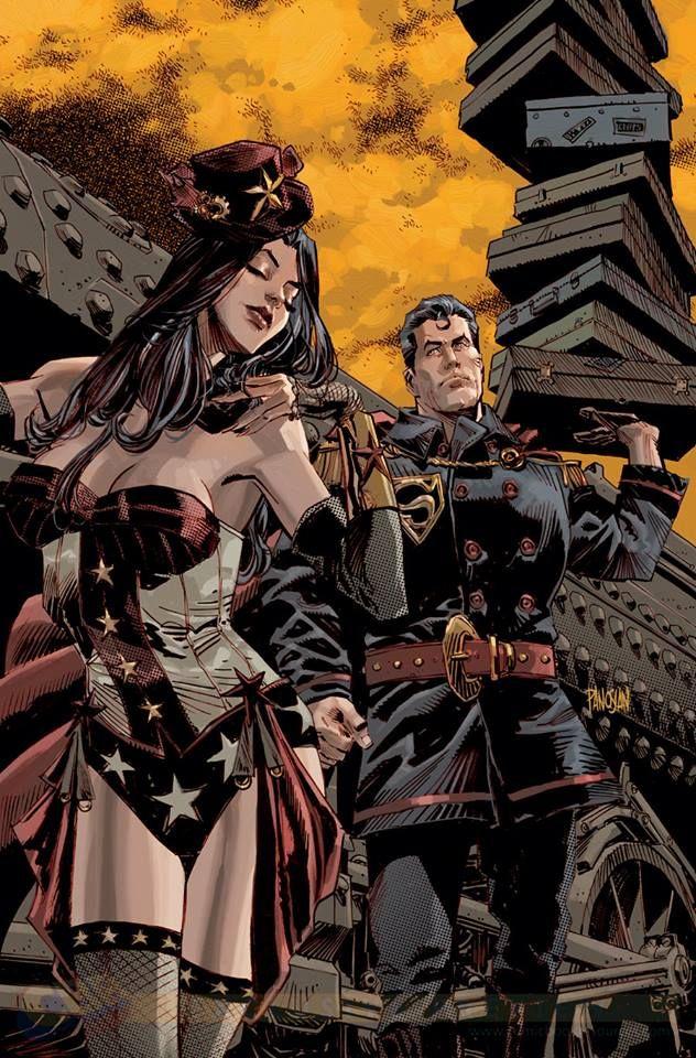 Steampunk Tendencies, Superman andWonder Woman variant by Dan Panosian.