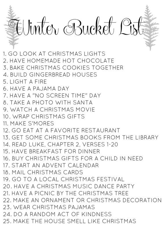 Christmas bucket list // Love