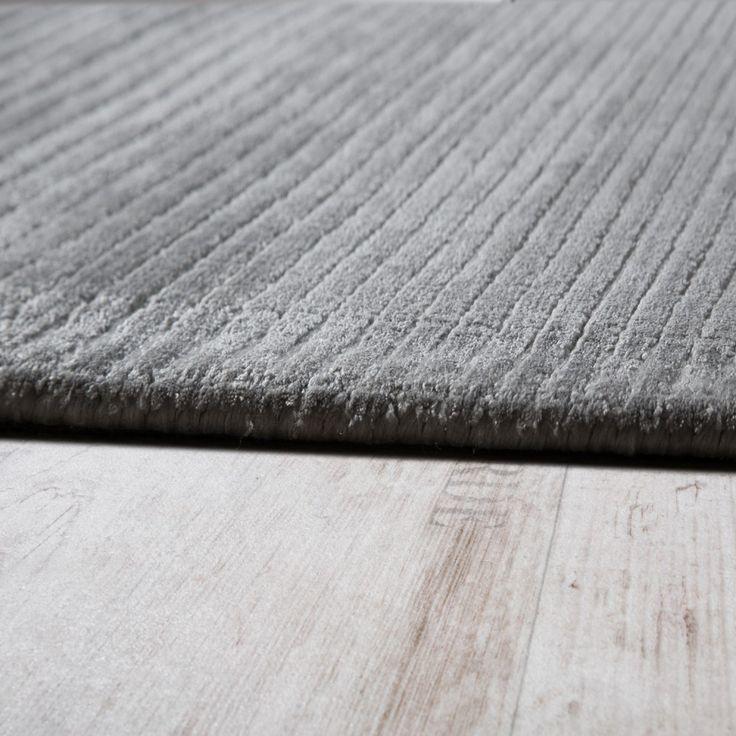 Teppich Handgefertigt Hochwertig 100% Viskose Cord Optik Vintage Glanz Uni Grau Wohn und Schlafbereich