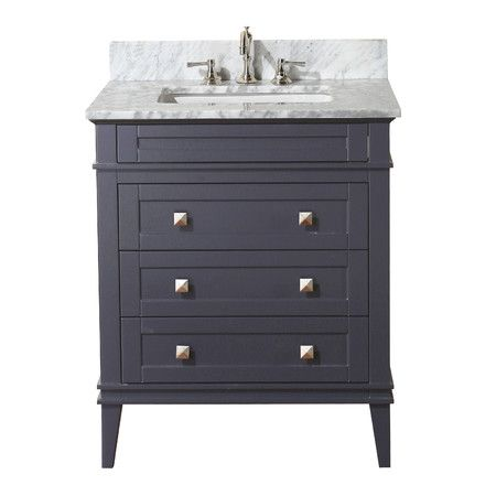 This bathroom vanity set includes a vanity cabinet with soft close drawers, an authentic Italian Carrara marble counter top, under mount ceramic sink, pop...
