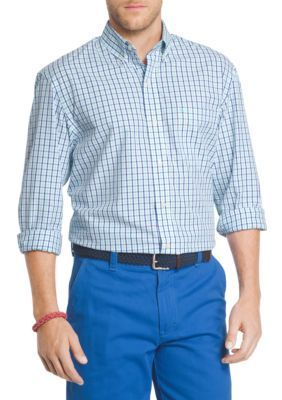 IZOD Blue Radiance Essential Long Sleeve Button Down Tattersall Shirt