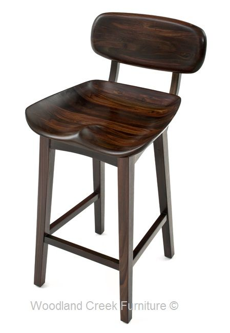 Contemporary Wooden Bar Stool with Backrest. Available custom seat heights  by Woodland Creek Furniture.