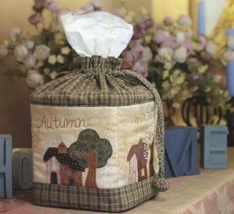 4-season appliqued tissue box cover photos only
