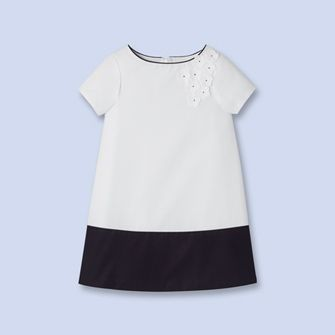 Color block dress WHITE/BLUE Girl - Boys and girls Clothes - Jacadi Paris
