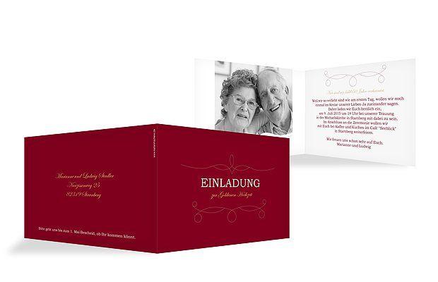 """50 Jahre verheiratet - das wollen wir mit euch feiern! Die Einladungskarte """"Feinart"""" lädt Ihre Gäste auf charmante Art zur Goldenen Hochzeit ein."""