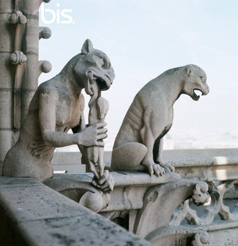 Detail of Two Gargoyles from Gargoyle Sculptures at Notre Dame Cathedral