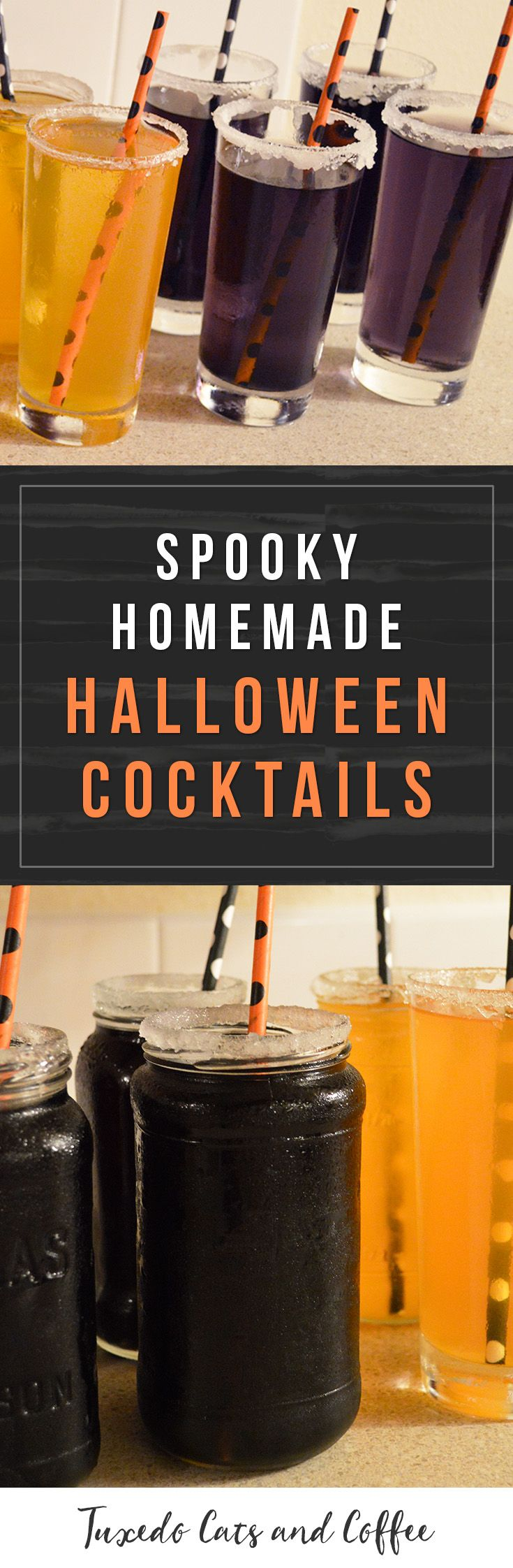 If you're having a Halloween party this year, try out some of these spooky homemade Halloween cocktails! You can make them with or without alcohol depending on your preferences by simply leaving out the alcohol or substituting another beverage to mix in. These black, purple, and orange cocktails are a perfect drink for your Halloween party.