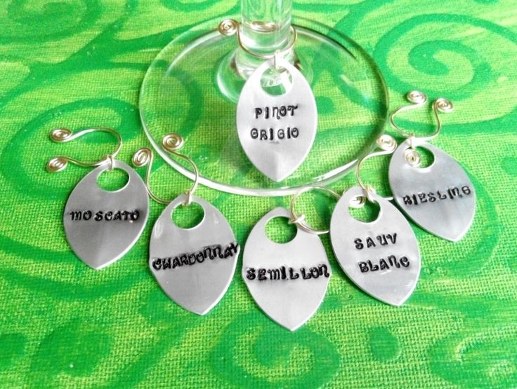 handstamped silver wine glass charms set of 6 white wines.  made in ireland. by terramor on Etsy