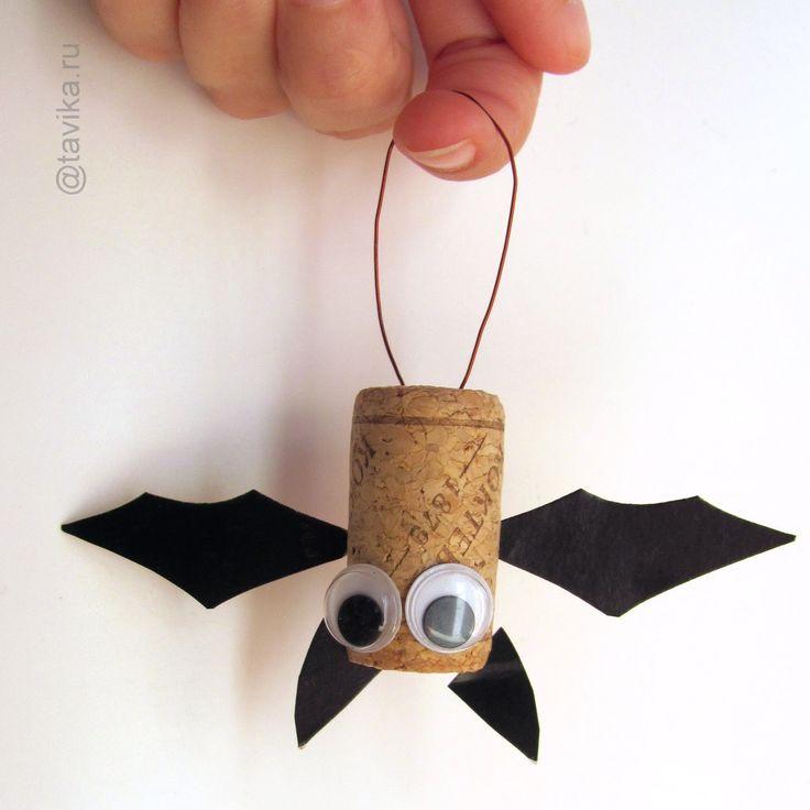 детская поделка летучая мышь на Хэллоуин