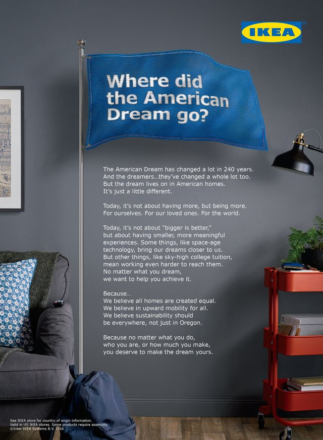 Ikea Says the American Dream Is About More Than Just Buying Stuff