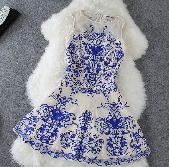 dress blue Blue And White Porcelain Sleeveless Dress Lace Embroidery