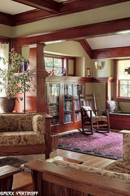 Our living room after restoration. This woodwork was painted when we bought the house. We made the leaded glass panels and stenciled roller shades. Laurelhurst Craftsman Bungalow: Alex Vertikoff's Photos