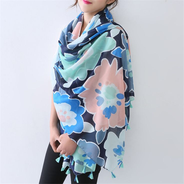 2016 new spring colorful flower printing tassle scarves female scarf sunscreen mercerized cotton scarf wraps