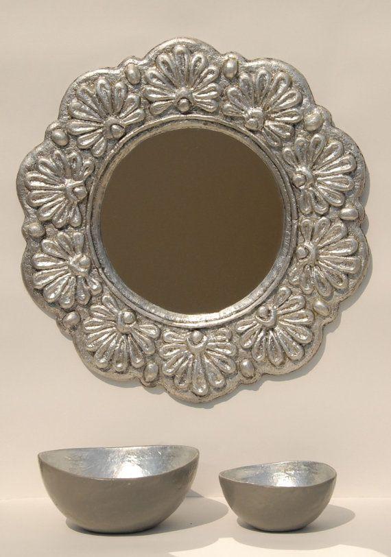 Anthemia : Handmade Papier Mache Mirror Greek  - Gold leaf,Silver leaf,Copper leaf