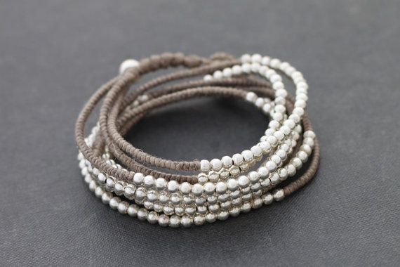 Silver Taupe Beaded Wrap Bracelet Necklace by XtraVirgin on Etsy, $18.00