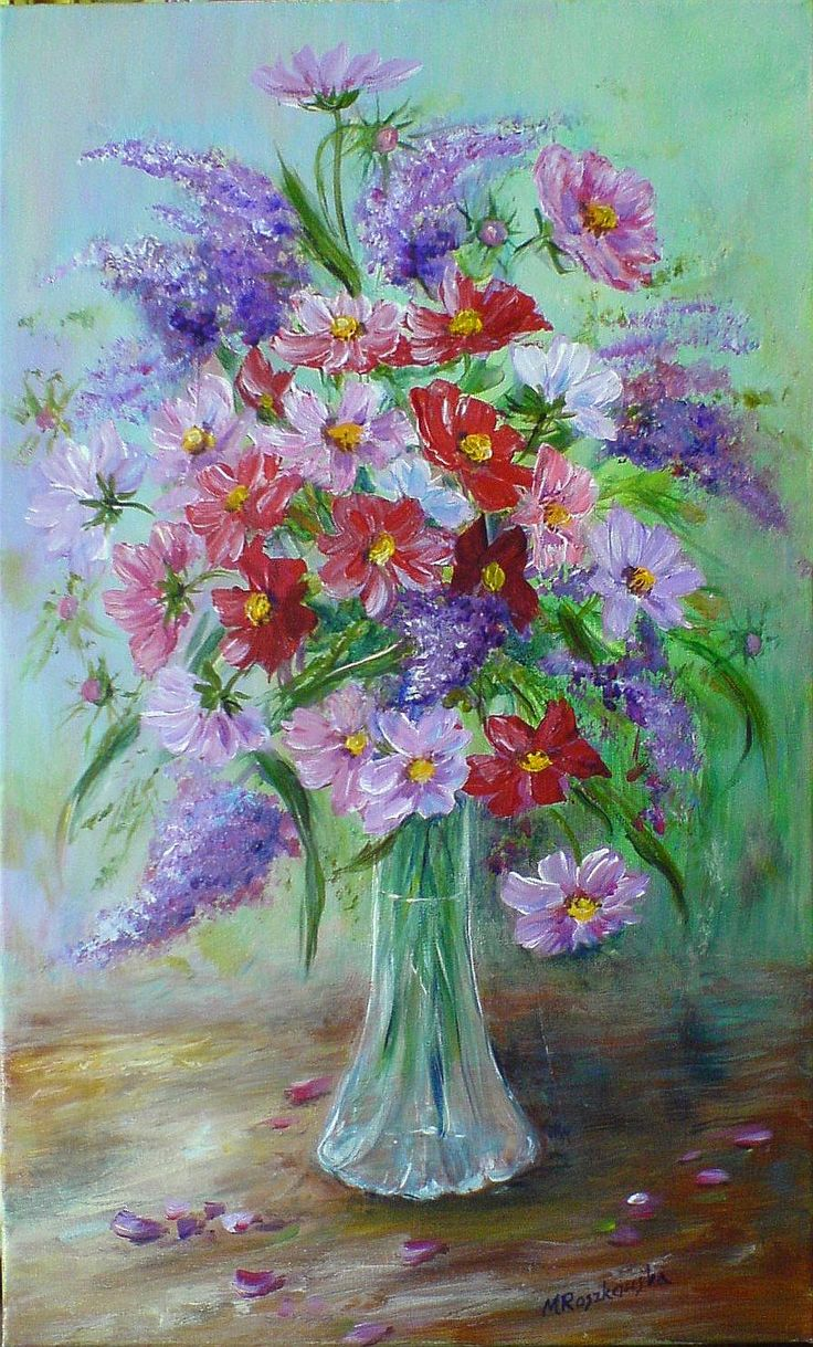 Bukiet Danusi - akryl 50x30 - Maria Roszkowska