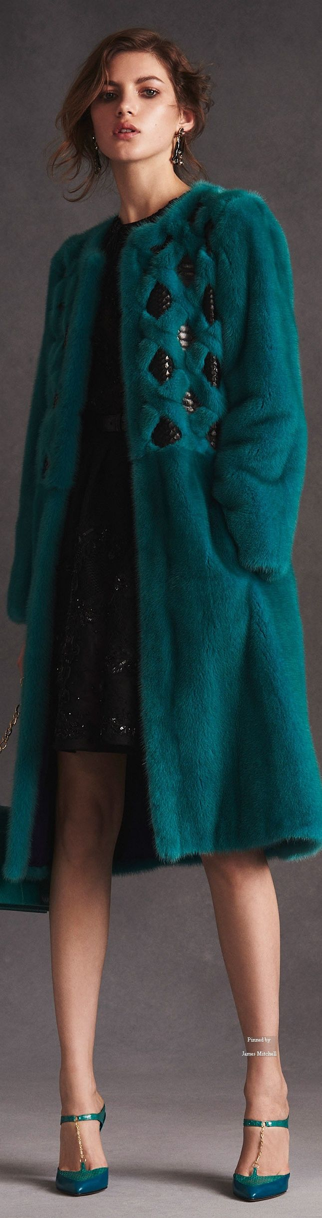 Teal fur coat with inserts - Oscar de la Renta Pre Spring 2016 collection