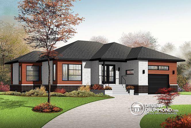 Nouveau mod le contemporain avec grand garage 2 chambres - Plan de maison original ...