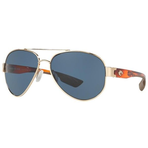 Costa Del Mar South Point Polarized 63 Gold Aviator Sunglasses ($199) ❤ liked on Polyvore featuring accessories, eyewear, sunglasses, costa glasses, gold aviator sunglasses, gold glasses, lens glasses and costa eyewear