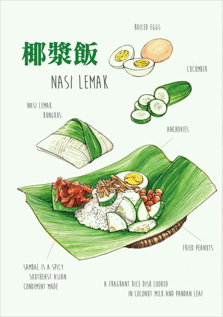 Dish of Nasi Lemak comprising of rice(fragrances by coconut milk), ikan bilis, egg & slices of cool cucumber.