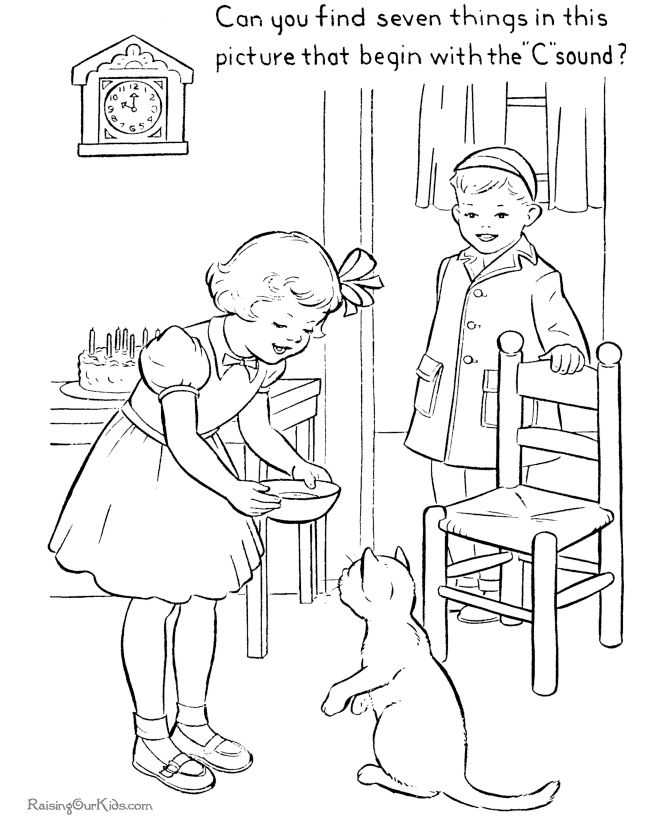 Free printable kid coloring page of cat