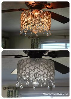 Batchelors Way: DIY Ceiling Fan Chandelier! - made from PVC rings wired together w/jewelry wires