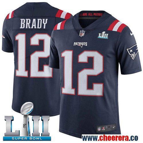 e13bbeb31 Nike Patriots 12 Tom Brady Navy 2018 Super Bowl LII Color Rush Limited  Jersey