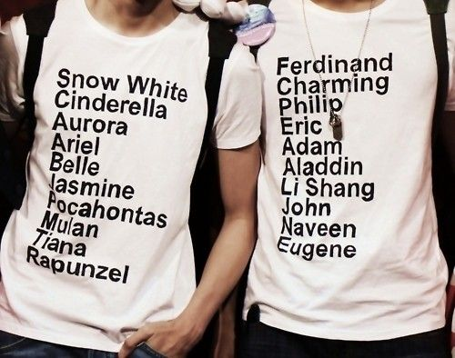 Disney princesses and princes shirts <3....add your names at the bottom