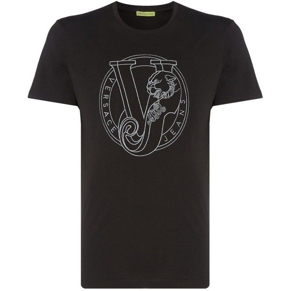 Versace Jeans Chest Circle Logo Crew Neck T-shirt (510 SAR) ❤ liked on Polyvore featuring men's fashion, men's clothing, men's shirts, men's t-shirts, j crew mens shirts, mens cotton t shirts, versace mens t shirt, versace mens shirt and mens cotton shirts